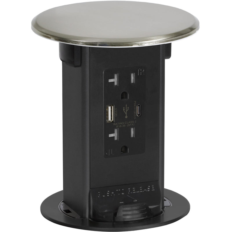 Lew Electric PUR20-NS-USB Nickel 2 Power 20A, 2 Charging USB, Kitchen Power Round Pop Up Outlet