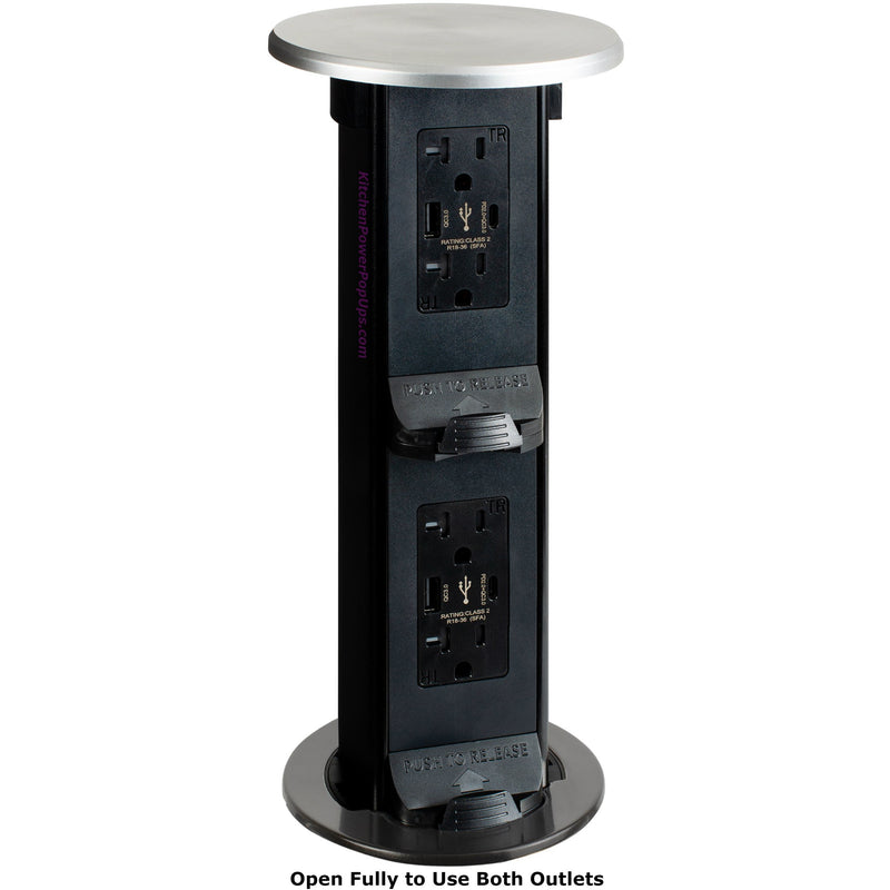Counter Waterproof 2-Stage Pop Up USB-A/C Outlets, Wireless, Stainless