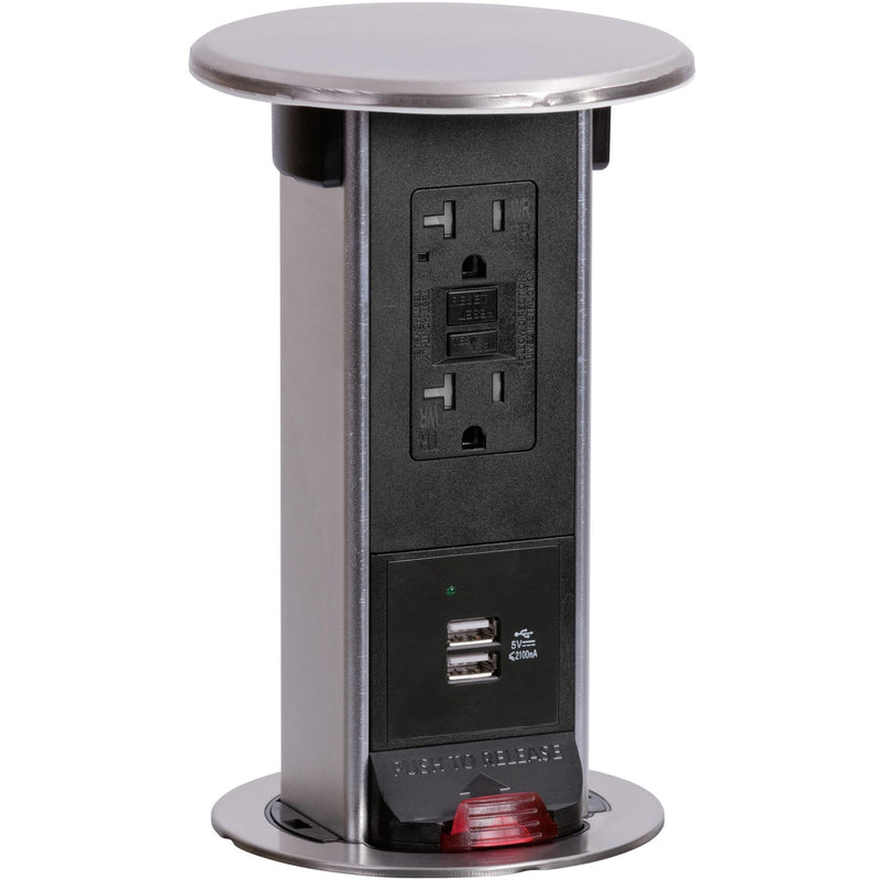 Lew Electric PUR20-SS-GFI-2USB Waterproof Pop Up 20A USB/GFI Stainless