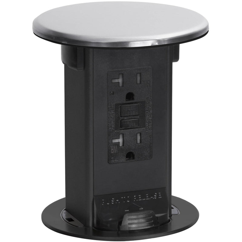 Lew Electric PUR20-S Kitchen Power Pop Up with Matching Black 20A GFI Outlet