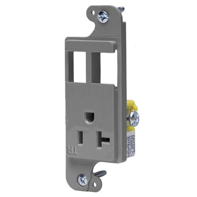 Hubbell RJ26GYTR Combo J-Load Media Outlet, 2 Custom Ports and 20A Receptacle, Gray