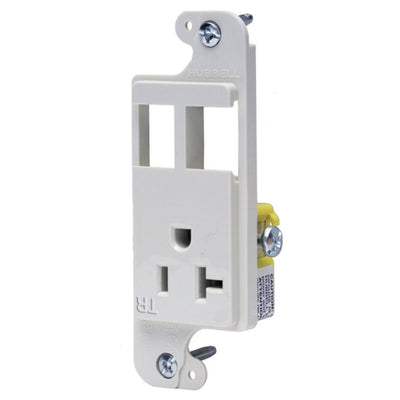 Hubbell RJ62WTR Combo J-Load Media Outlet, 2 Custom Ports and 20A Receptacle, White