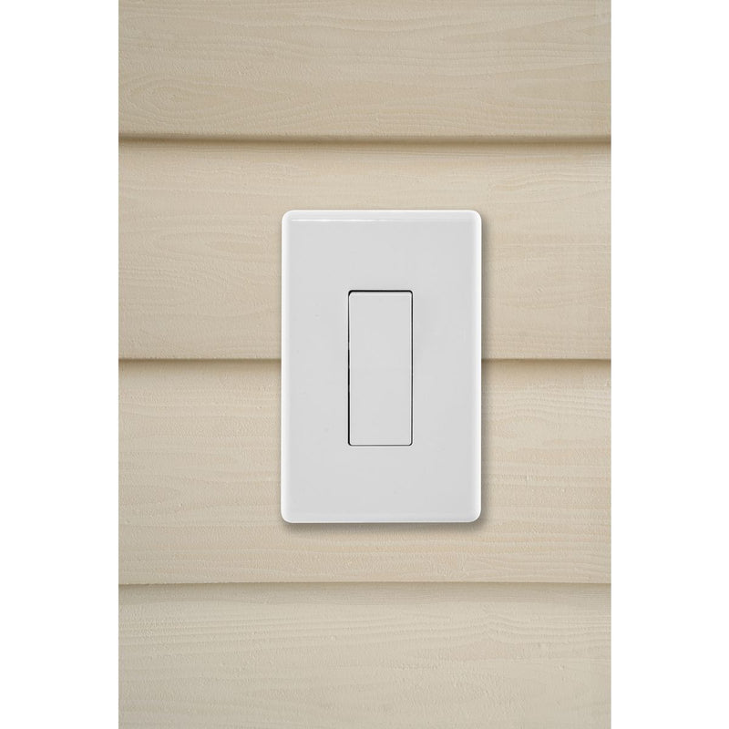 Weatherproof Exterior Wall Rocker Switch, 20 Amp, White, Installed