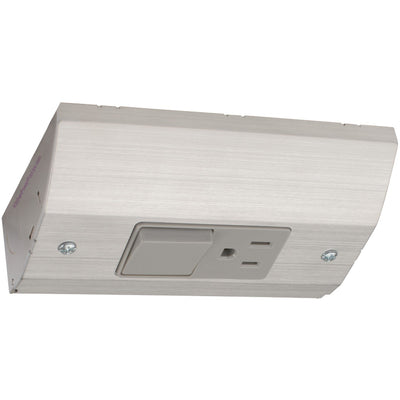 Under Cabinet Slim Power Box, Outlet and Light Switch Combo, Stainless