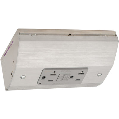Under Cabinet Angled Power Strip AFCI and GFCI Combo Outlet, Stainless