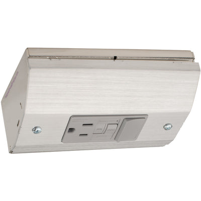 Under Cabinet Low Profile Power Outlet Box, GFCI and Switch, Stainless