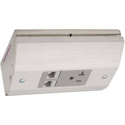 Under Cabinet Low Profile Power Outlet Box, Power and 2 Cat6, Stainless