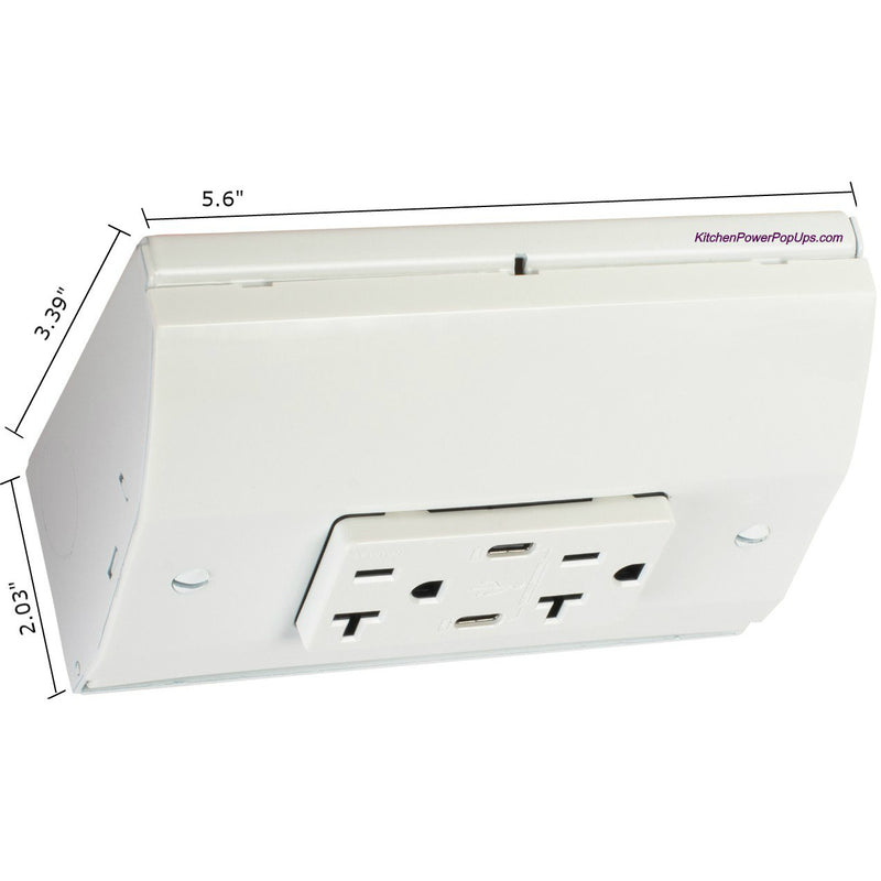 Under Cabinet Angled 2 Power Strip, Dual Charging USB-C (PD) Ports, White
