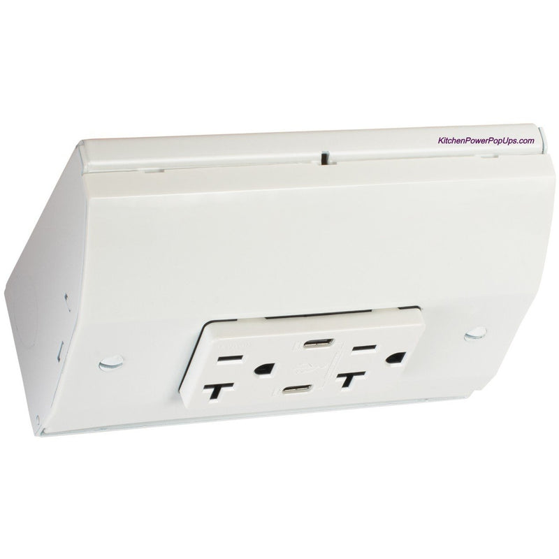 Under Cabinet Angled Power Box, Dual USB-C Charging Ports, White