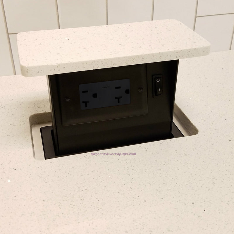 S-Box Pop Up Outlet with Matching Stone Top, 20A Black Outlet
