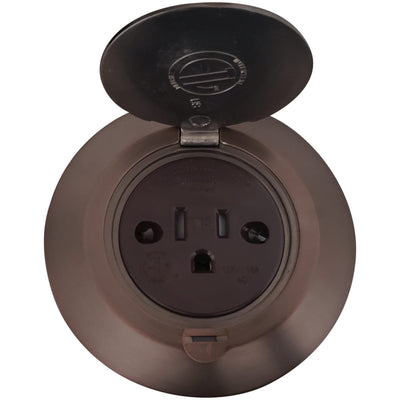 "Single Receptacle 3.75"" Round Floor Box, Hinged Lid, Antique Bronze - Open"