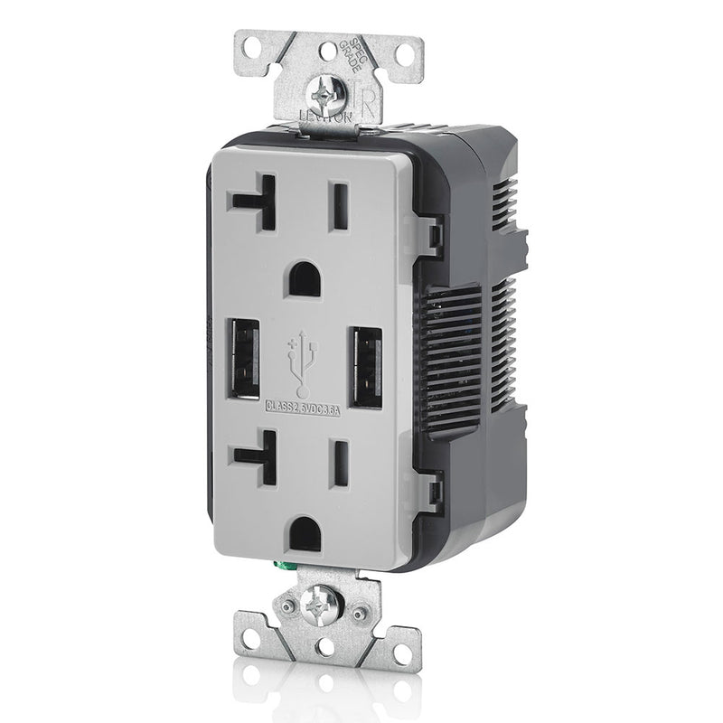 Leviton T5832-GY 20A Dual 3.6AUSB Port Charging Outlet, TR Plugs, Gray - Side