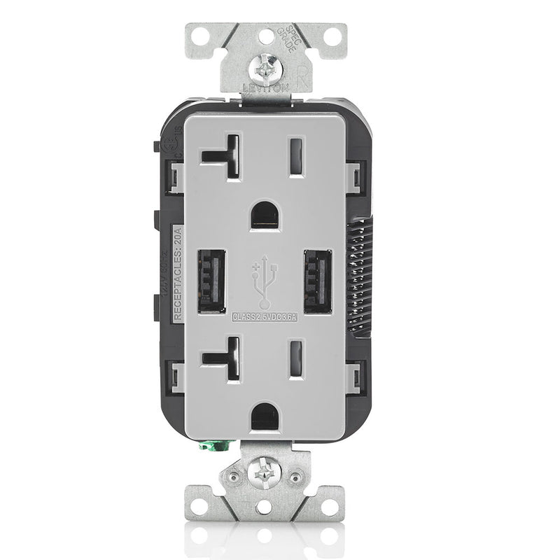 Leviton T5832-GY 20A Dual 3.6AUSB Port Charging Outlet, TR Plugs, Gray - Front