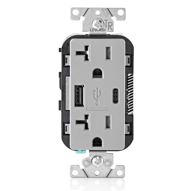 Leviton T5833-GY 5.1A USB Type-A Type-C Charging Wall 20A Outlet, Gray