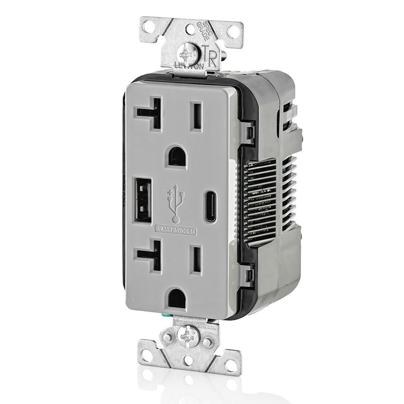 Leviton T5833-GY 5.1A USB Type-A Type-C Charging Wall 20A Outlet, Gray, Side View