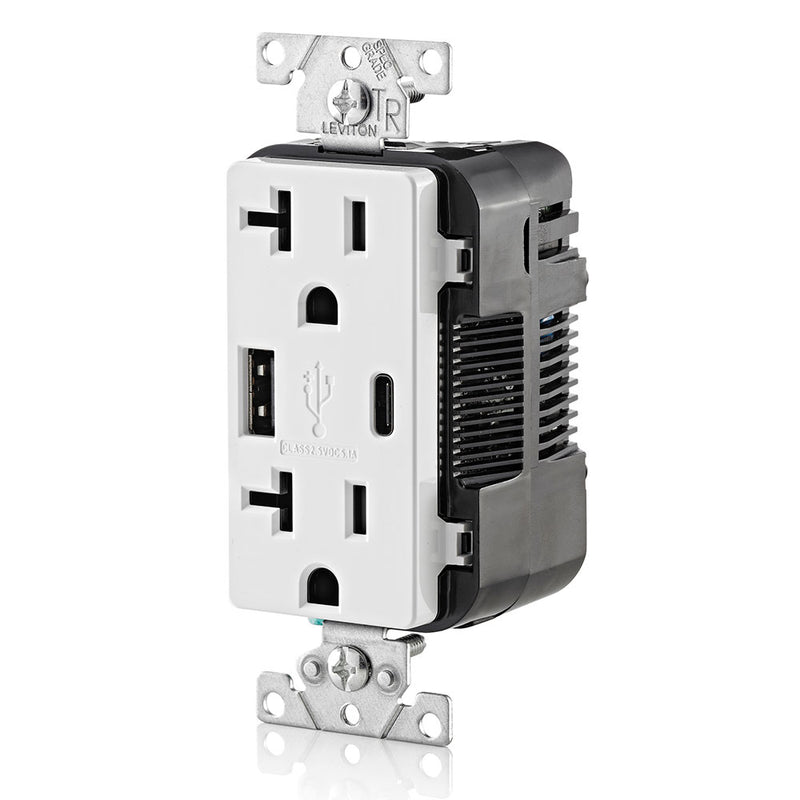 5.1A USB Type-A and USB Type-C Charging Wall TR 20 Amp Outlet, White