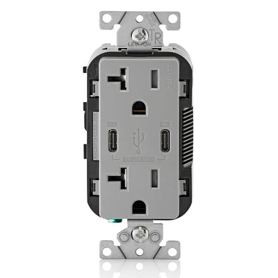 Leviton T5835-G 20A Dual USB-C Charging Wall TR Outlet, Gray