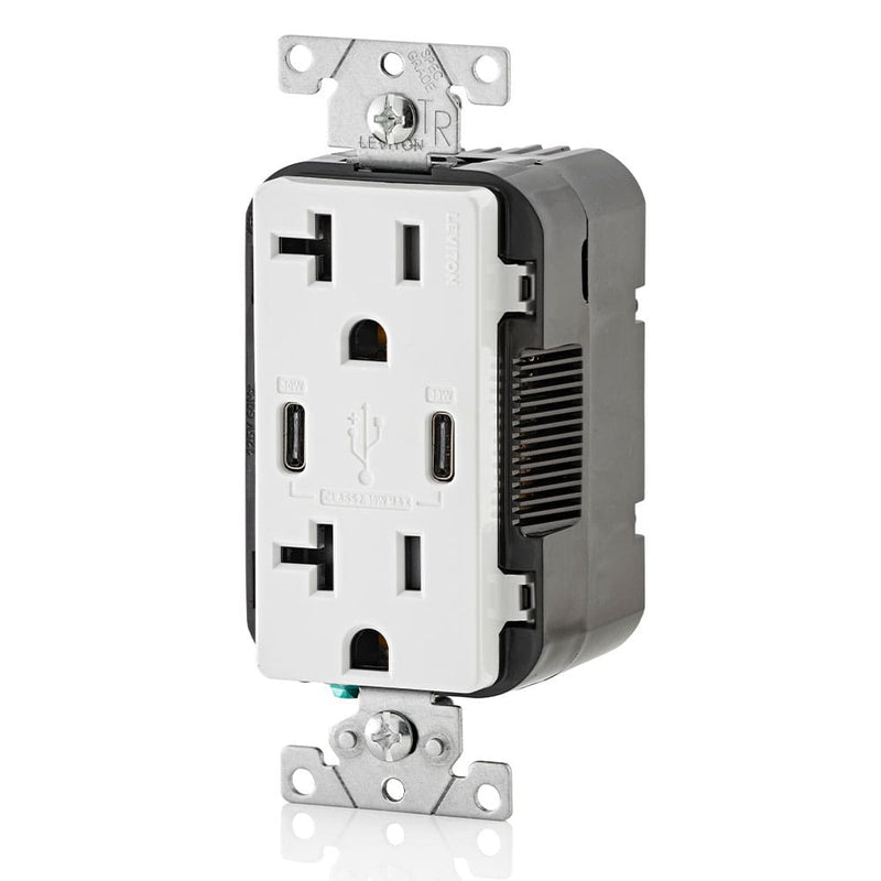 Leviton T5835-W 20A Dual USB-C Charging Wall TR Outlet, White