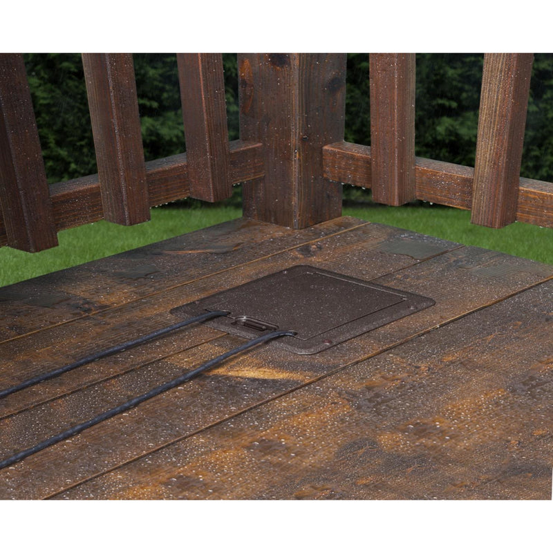 Outdoor Weatherproof Deck Outlet Box, Closed, Brown