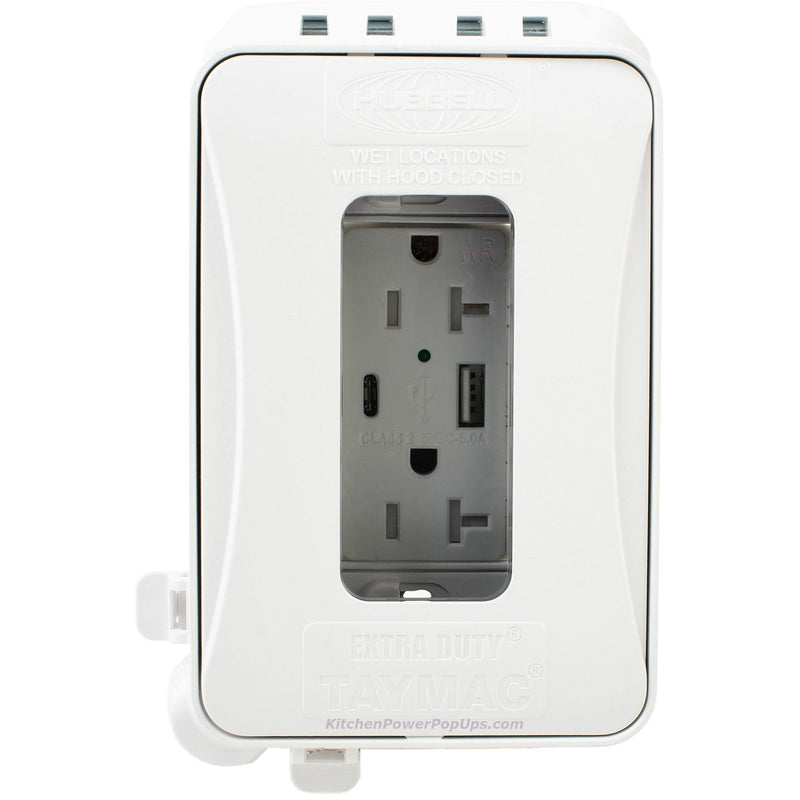 Exterior Pop Up Outlet: ML500W White Outdoor Weatherproof Wall Box W/ USB Charging