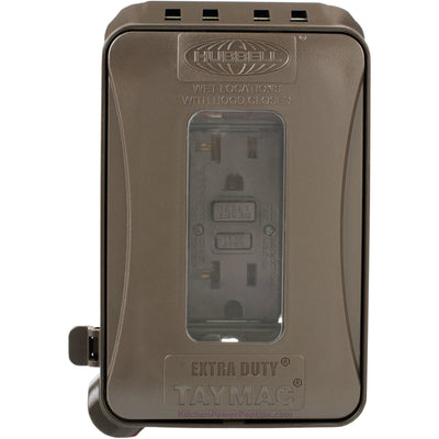 ML500Z Brown Outdoor Weatherproof Wall Box with Matching GFCI Outlet