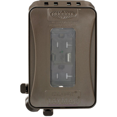 ML500Z Bronze Outdoor Weatherproof Wall Box w/ USB Charging WR Outlet