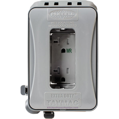 ML500G Gray Outdoor Weatherproof Wall Box w/ Gray Duplex WR Outlet