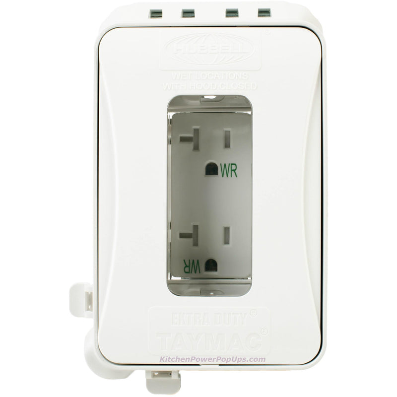 Outdoor Weatherproof In-Use Expandable Wall 20A Power Outlet, White