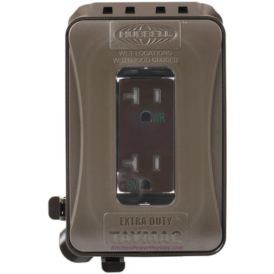 ML500Z Gray Outdoor Weatherproof Wall Box w/ Brown Duplex WR Outlet