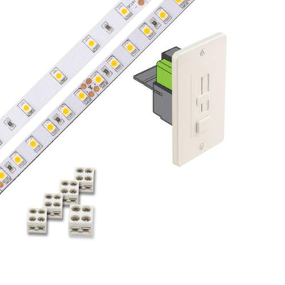 Under Cabinet Light Kit, 16' LED Tape Strip, Dimmer/Driver Switch