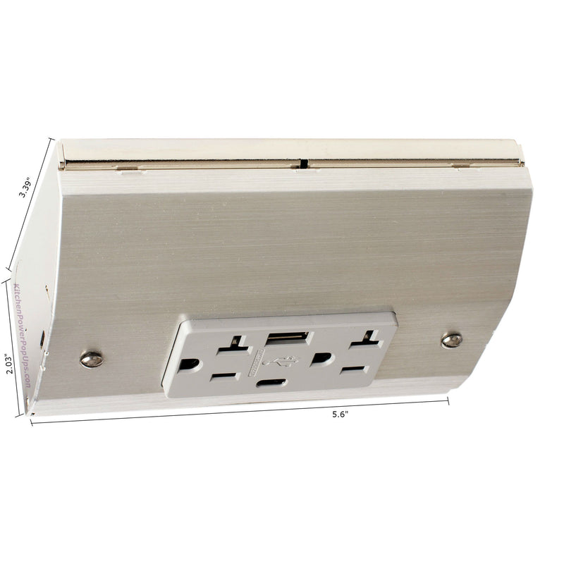 Under Cabinet Angled Power Strip, Charging USB-A and USB-C, Stainless