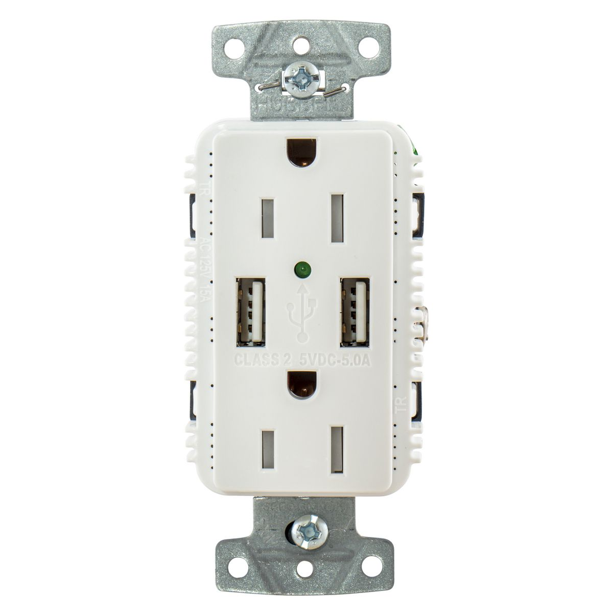 15A High Power 5A USB 2 Port Charging Outlet TR Plugs White