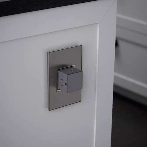 1 Gang 15A 3 Outlet Wall Pop-Out with Matching Plate Kit - Magnesium
