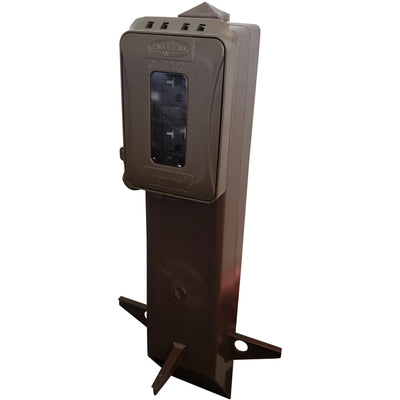 Brown Outdoor Garden Post with GFI Outlet and Accordion Cover