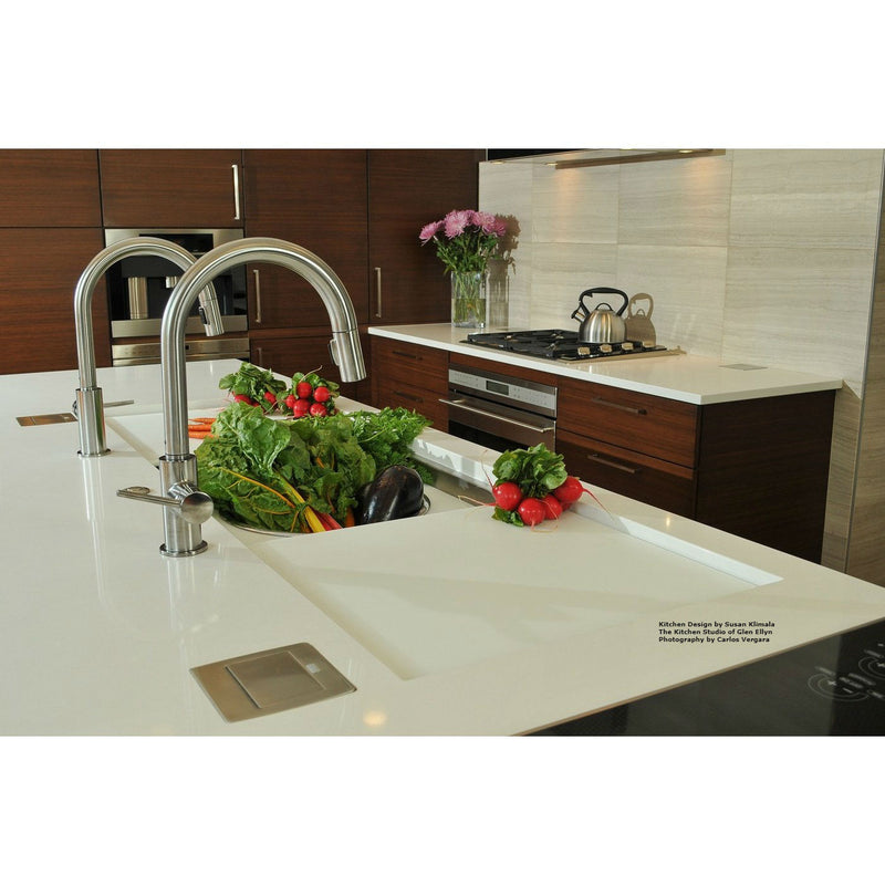 Lew Electric PUFP-CT-SS Kitchen Countertop Power with GFI Pop Up Outlet Installed Closed - Stainless Steel