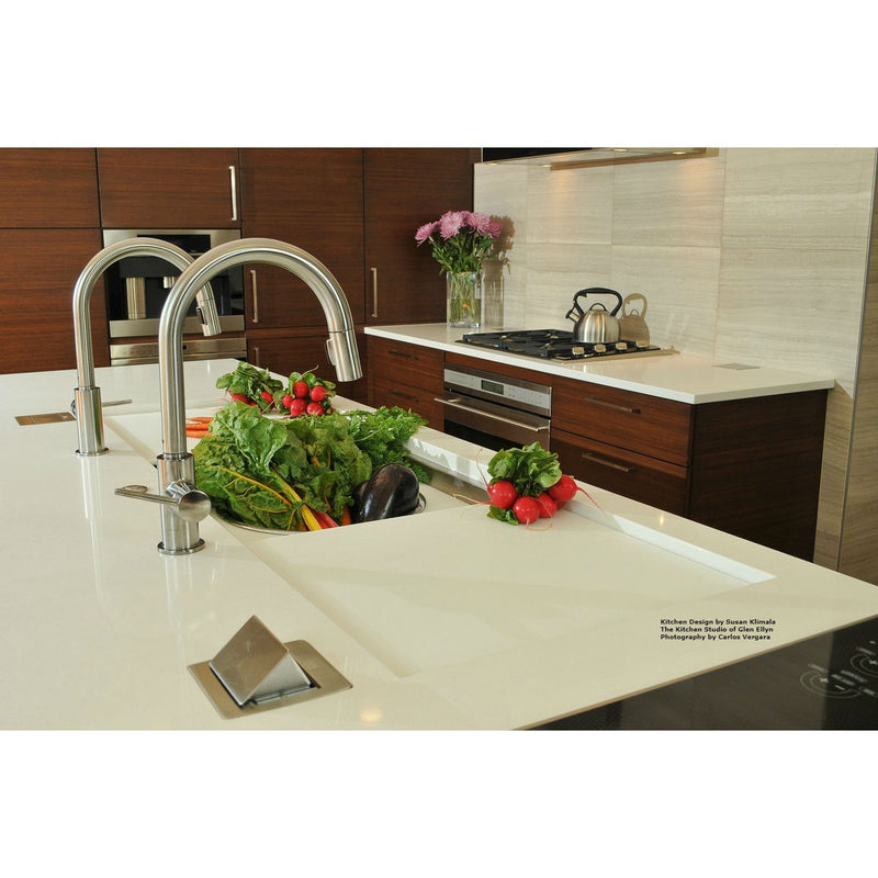 Lew Electric PUFP-CT-SS-20A-2USB-WC Kitchen Countertop Power with GFI Pop Up Outlet Installed - Stainless Steel