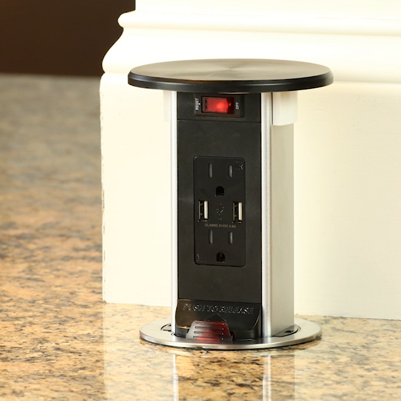 Lew Electric PUR15-RBK-2USB-QI Installed in Countertop Popped Up