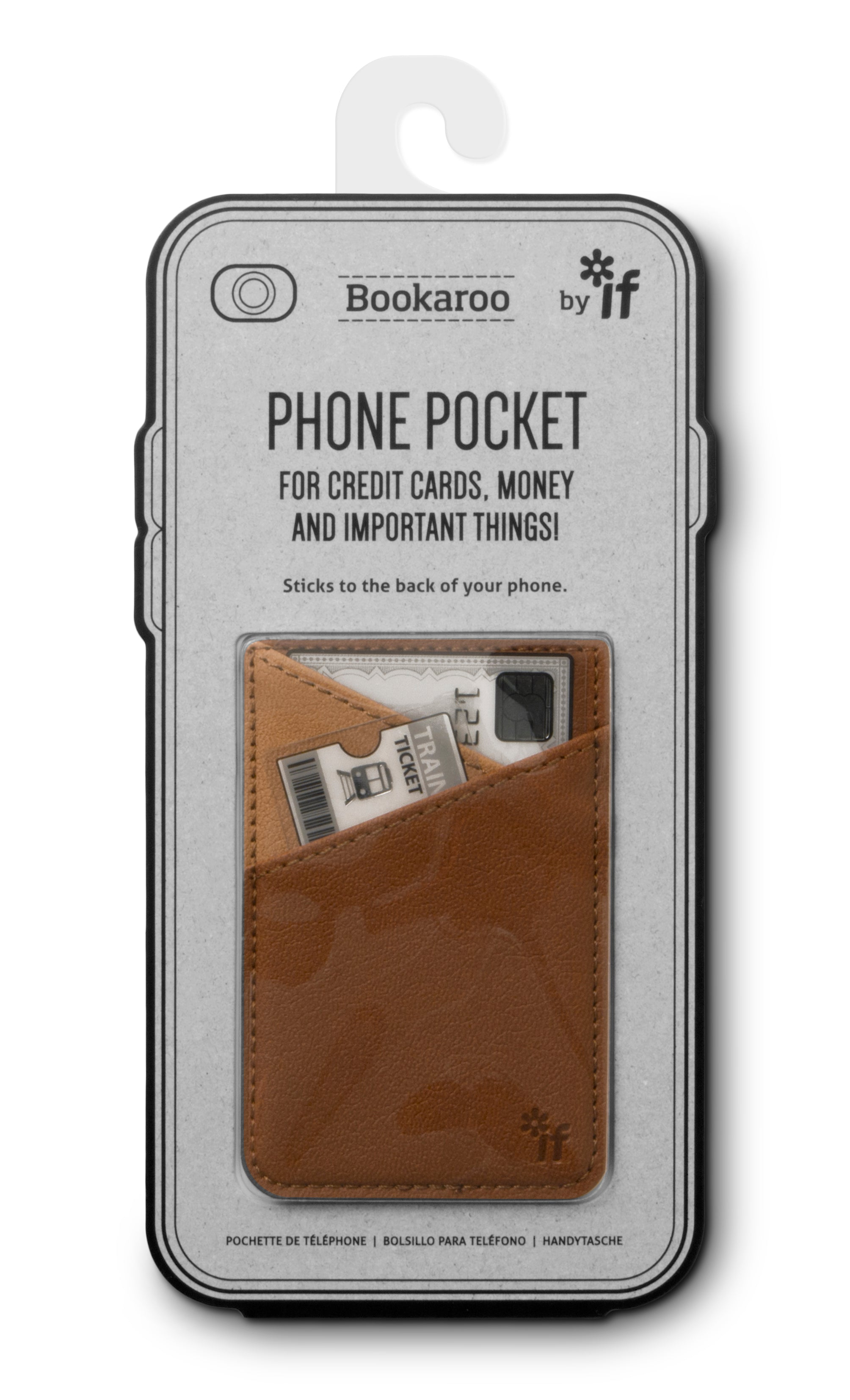 BOOKAROO PHONE POCKET - BROWN