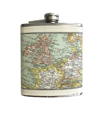HIP FLASK -  VINTAGE MAP