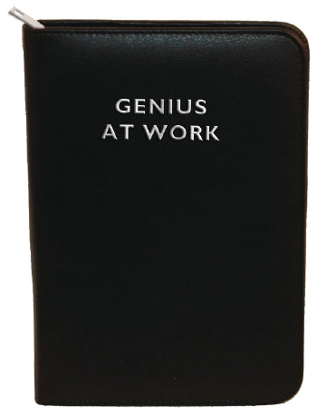 Zip Portfolio Black Genius at Work in silver foil with silver zip