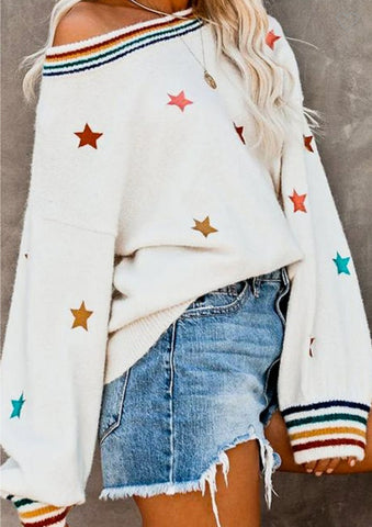 All the stars off the shoulder sweater