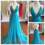 Deep V Turquoise Ballerina Dress