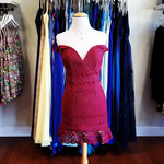Ready for tea classic burgundy broderie off-the-shoulder dress