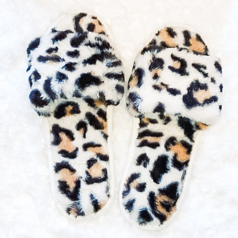 Leopard plush slides
