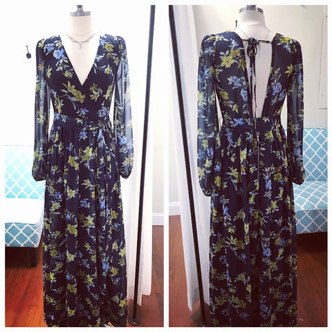 Meadow dreams navy long sleeve dress