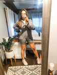 Cozied up sweater romper in grey