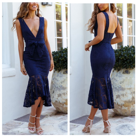 Lovely in lace navy dress