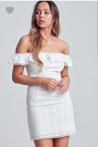 White eyelet off the shoulder dress