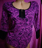 Betsey Johnson Steampunk Purple Black  Thermal Stretchy Top 3/4 Sleeve Shirt S