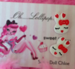 Oh Lollipop Sweet Barbie Bunny Heart Red Bow Pinup Post Stud Rockabilly Earring